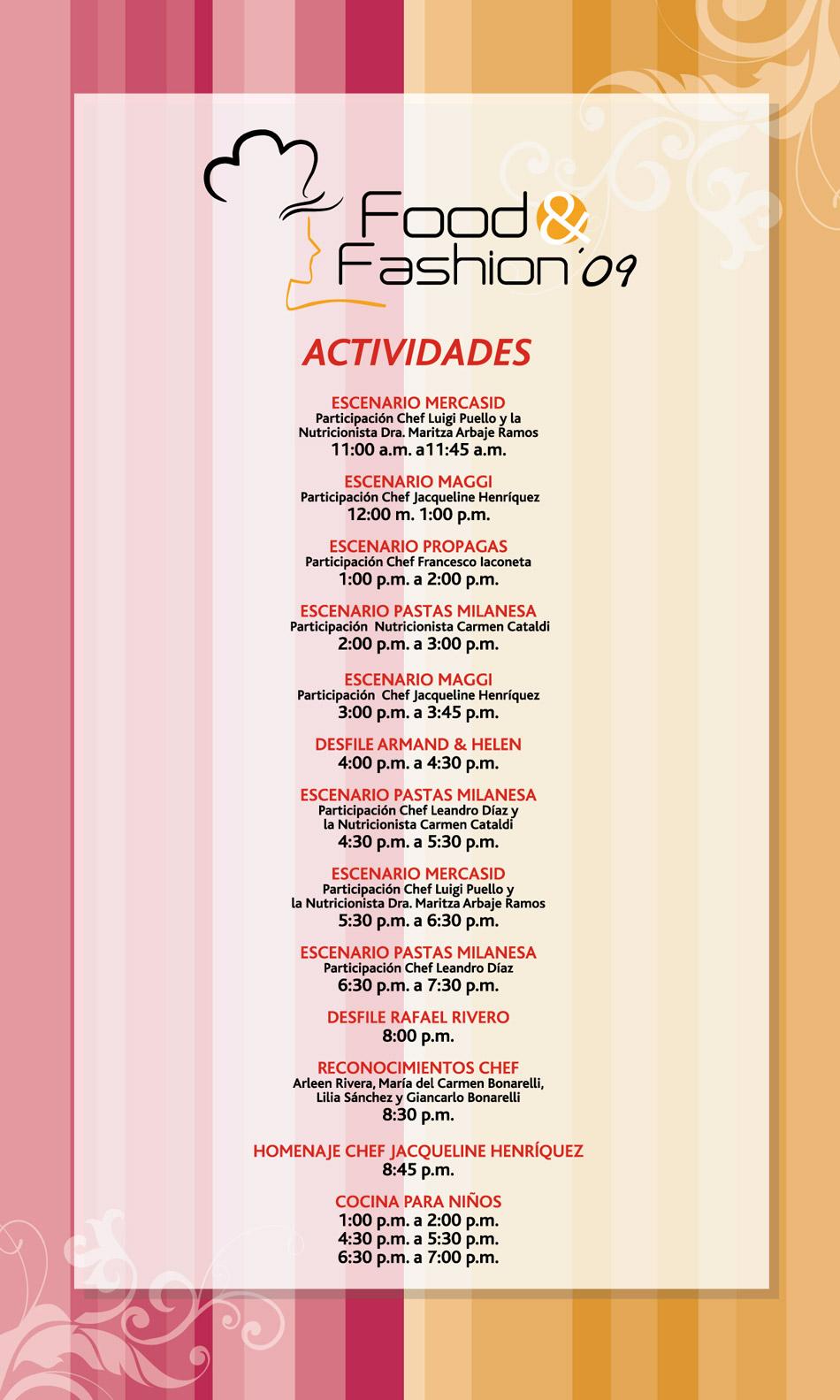 Programa Actividades Food Fashion