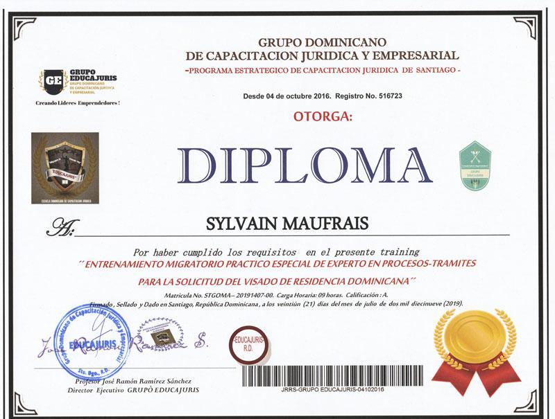 Diploma Experto Procesos Tramites Solicitud Visado Residencia Dominicana